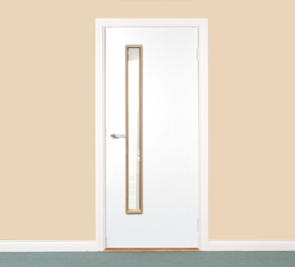 Paint Grade Single Door with Vision Panel and White Architrave