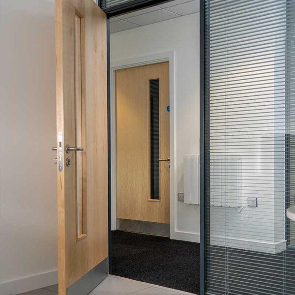 Real Wood Veneer door with Vision Panel